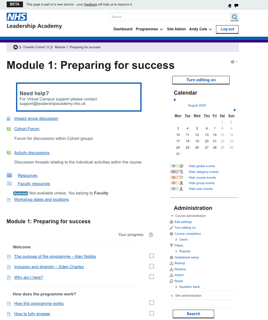 A screenshot of an online learning module using the old design