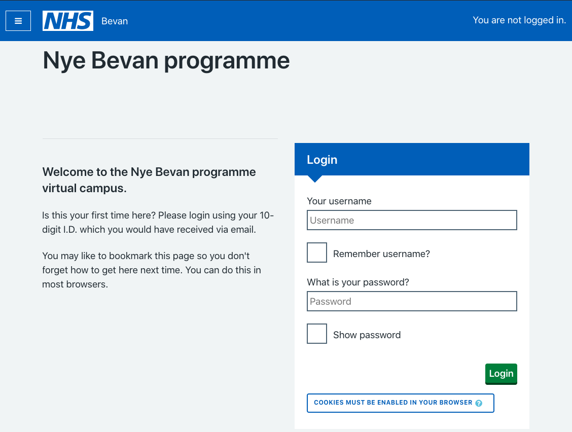 A screenshot of the login screen using NHSUK Moodle theme